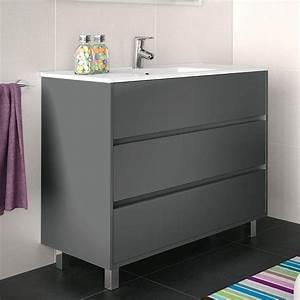 Meuble Salle De Bain 30 Cm : meuble salle de bain 100 cm 3 tiroirs vasque porcelaine gris mat aliso ~ Melissatoandfro.com Idées de Décoration