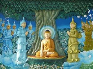 Buddha Bilder Gemalt : bild wandbild buddha erlangt erleuchtung zu shwedagon pagode in yangon rangun ~ Markanthonyermac.com Haus und Dekorationen