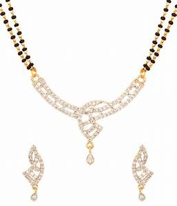 Voylla Gold Plated Single Chain Mangalsutra Set With ...