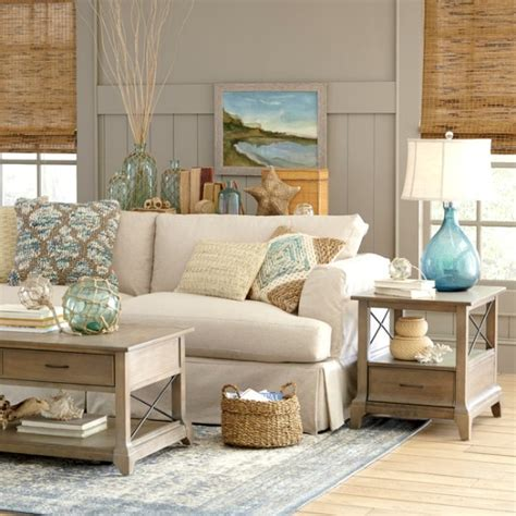 Sandy Beige & Blue Living Room   Birch Lane   Beach Home