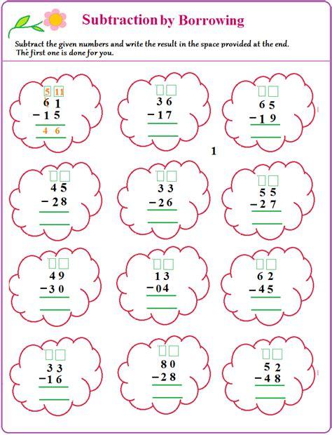 worksheet  borrow  subtract