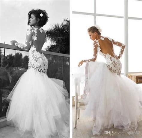 dreamlike flower wedding dress crew neck sheer sleeve