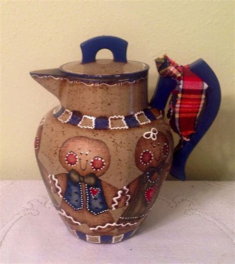 gingerbread kitchen accessories gingerbread up cycled tea coffee pot vintage 1216