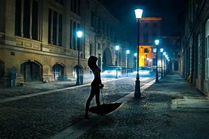 Woman Walking In The Moonlight Stock Photo - Image of ...