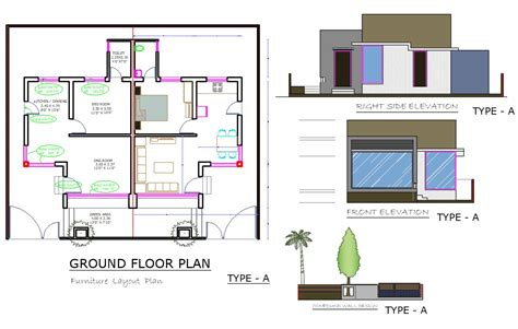 It is a single family occupied unit that is so arranged in a row to give it the benefits of a community living or a society living. Row House Plan DWG File - Cadbull