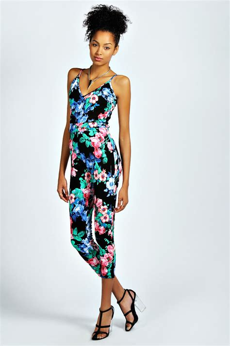 flower jumpsuit boohoo womens aniela textured floral jumpsuit in