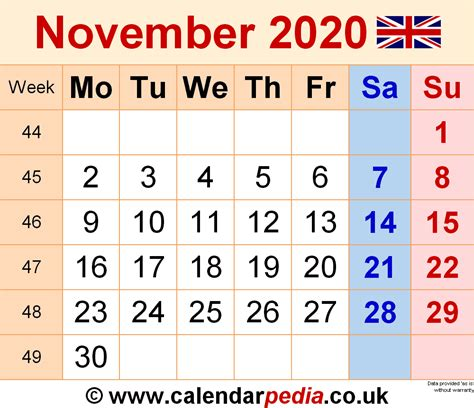 calendar november uk bank holidays excelpdfword templates