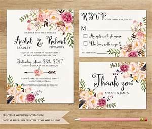printable wedding invitations floral yaseen for With wedding invitation printing green bay wi