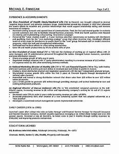 insurance resume example sample With life insurance resume format