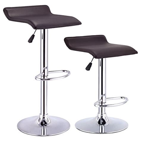 leather bar stool backless costway swivel bar stools modern pu leather backless 6885