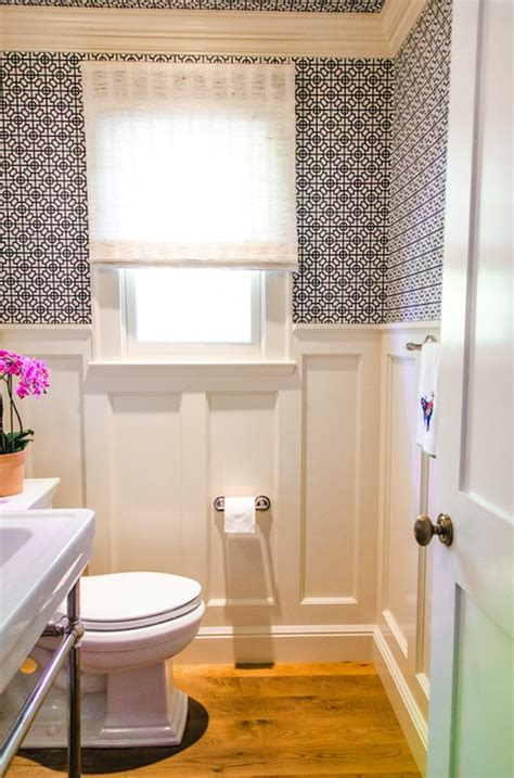 bathroom wallpaper ideas geometric wallpaper contemporary bathroom evars and Half