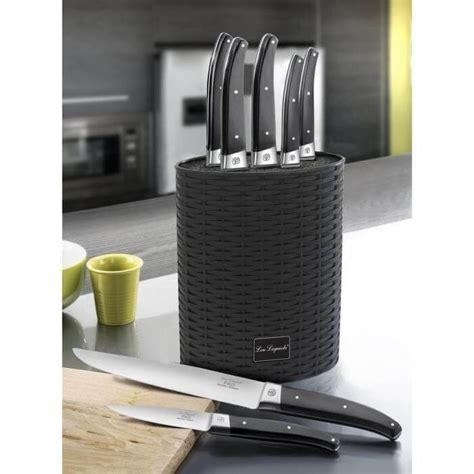 bloc couteaux de cuisine bloc ovale lou laguiole 6 couteaux gamme pro en acier