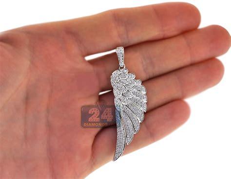 Mens Diamond Angel Wing Pendant Solid 14k White Gold 1.72ct
