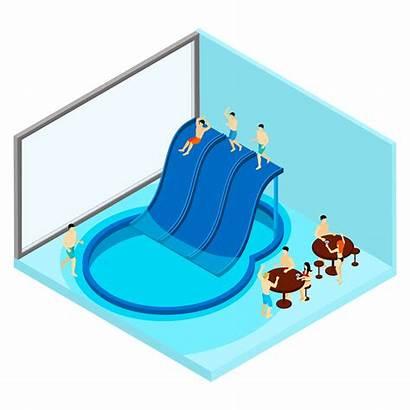 Water Park Illustration Indoor Vector Clipart Isometric