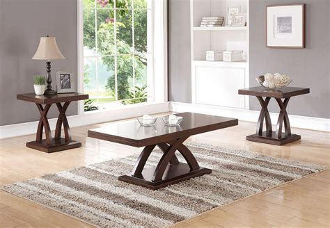 Wooden high gloss coffee tea table storage drawers with light living room uk. 3 Pcs Wooden Coffee Table Set
