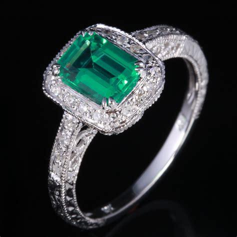 sterling silver engagement wedding genuine diamonds ring 7x5mm treated emerald ebay