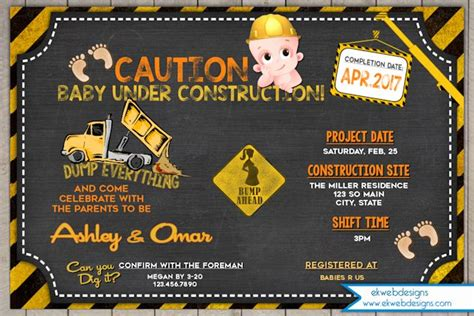 construction baby shower invitation  construction