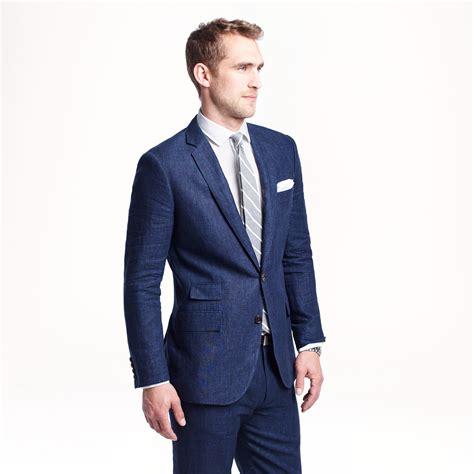 jcrew ludlow suit jacket  delave italian linen  blue  men hthr indigo save  lyst