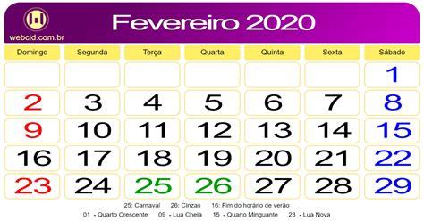calendario de fevereiro de webcid