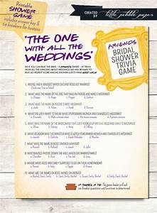 friends tv show trivia bridal shower game printable With wedding invitations quiz