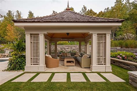 free standing gazebo landscape traditional with covered