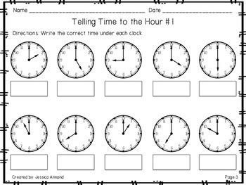 telling time worksheets   hour   hour
