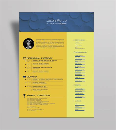 free beautiful resume cv template for graphic designer
