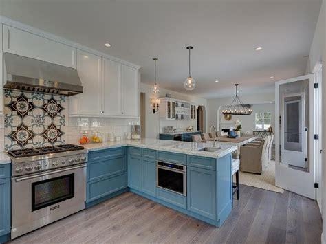 kitchen cabinets white on top on bottom white top cabinets and blue bottom cabinets transitional 9862