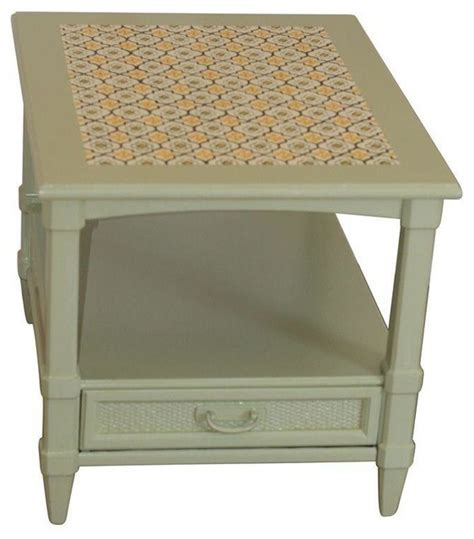mexican tile coffee table pre owned sage green end table with mexican tile inlay