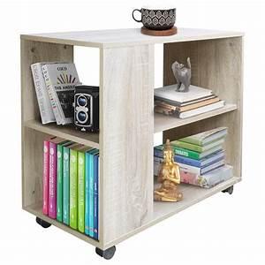 Tavolino Divano Libreria Design Moderno 2 Ripiani Con Ruote 70x35x61 Casa Beige - Nd