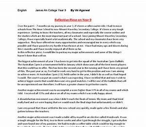 reflective essay english class sample essays middle school