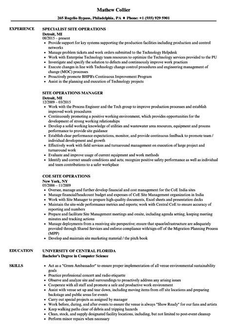 Resume Site by Site Operations Resume Sles Velvet