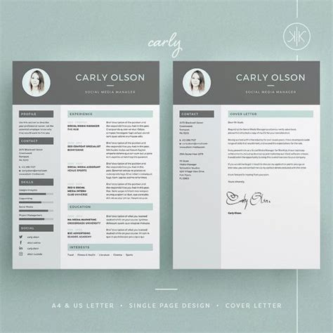 carly resumecv template word photoshop indesign