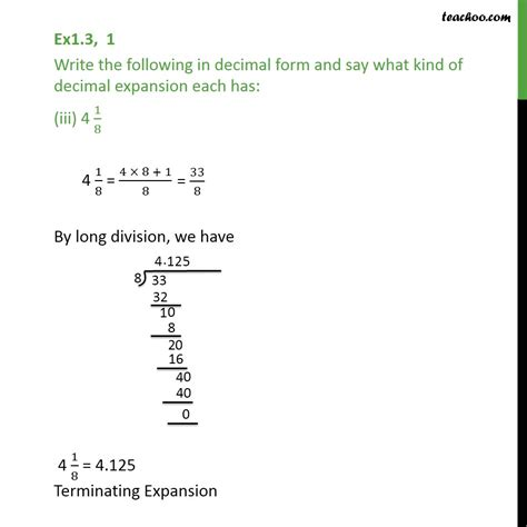 4 in decimal form ex 1 3 1 write the following in decimal form and say