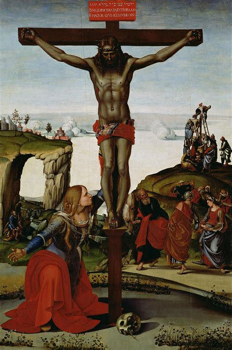crucifixion with magdalene painting by luca signorelli