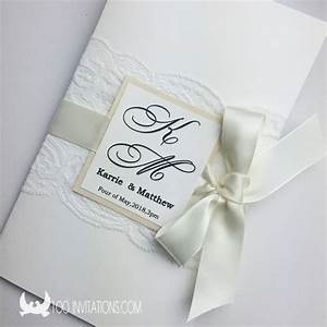 elegant lace wedding invitation with ribbon bow two layers With wedding invitations with ribbons and lace
