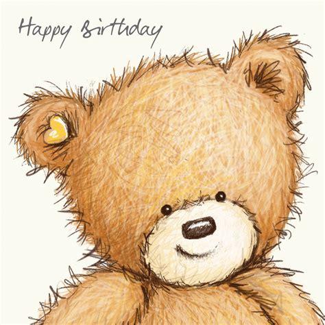 birthday bear  pink balloon happy birthday card