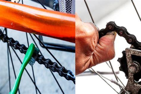 chain rust bike remove clean step hard dirt brush reach