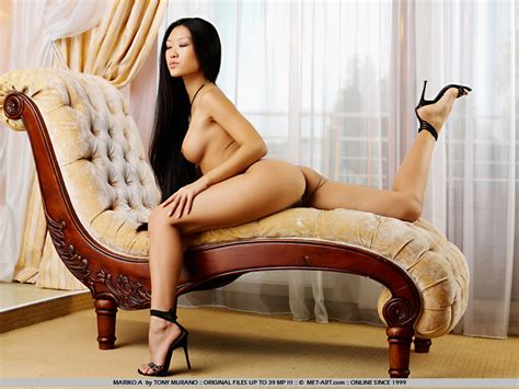 Shaved Long Haired Asian Teen Babe In Heels Mariko A Shows Off Her Nude Tight Body