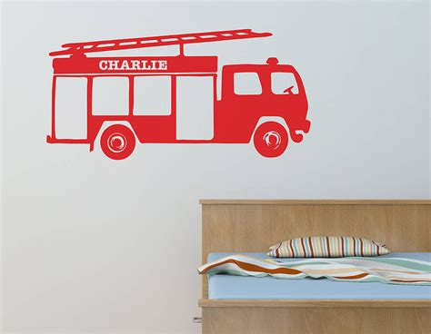 personalised fire engine vinyl wall sticker contemporary