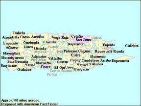 Puerto Rico Map with Cities