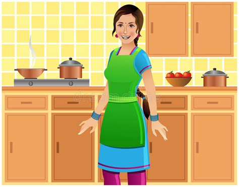 Beautiful Indian Woman In Kitchen Stock Vector
