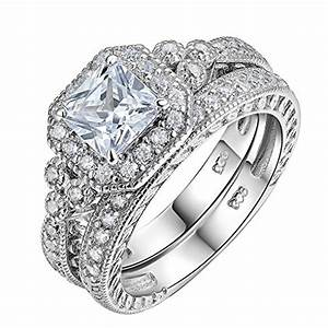 newshe vintage bridal set princess white cz 925 sterling With princess diana wedding ring set