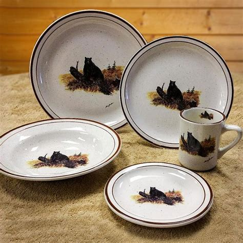 Wildlife Series Landscape Bear 20 PC Dinnerware: Cabin Place