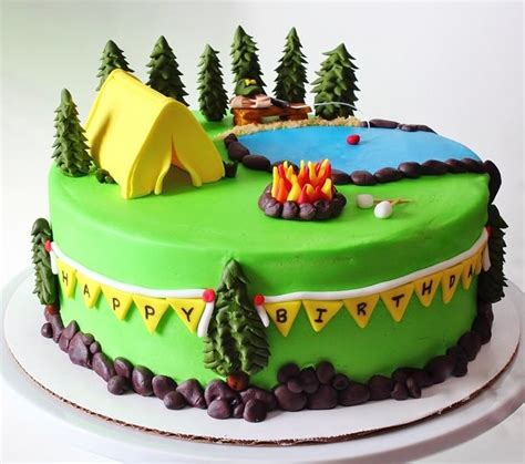 camping themed cake cakes cake decorating daily