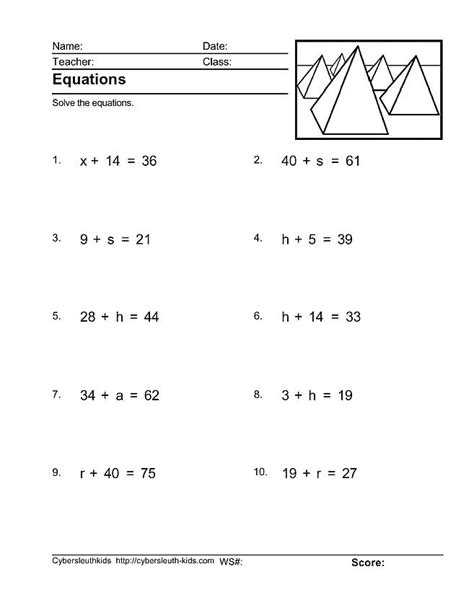 Solving One Step Equations Worksheets