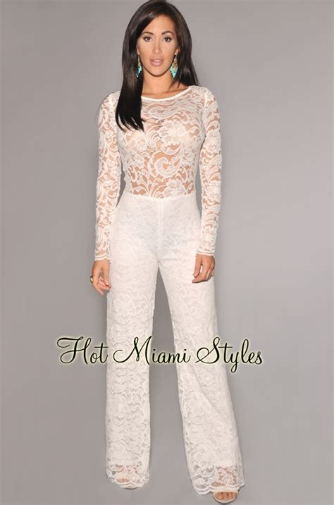 white jumpsuit with sleeves white sleeve lace cut out back jumpsuit