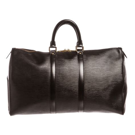 shop  louis vuitton black epi leather keepall  cm duffle bag luggage shipped  usa