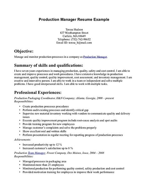 Production Supervisor Resume by Production Manager Resume