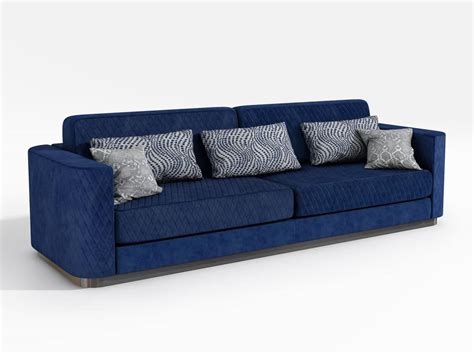 Sofa Upholstered With Blue Fabric, Contemporary Style